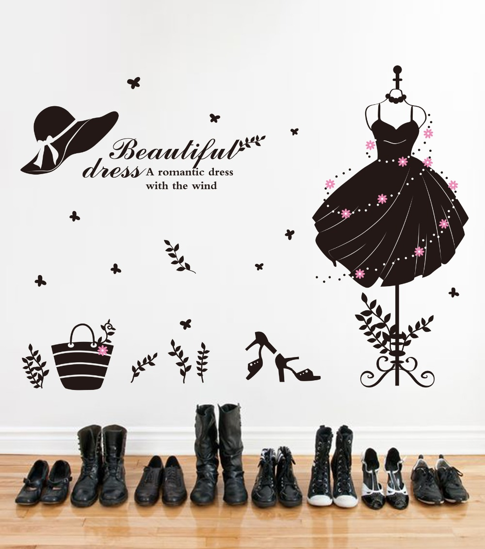 Wedding Dress Wall Stickers For Bedroom Home Decor Waterproof Diy Staircase Wardrobe Decoration Accessories Supplies Products(China (Mainland))