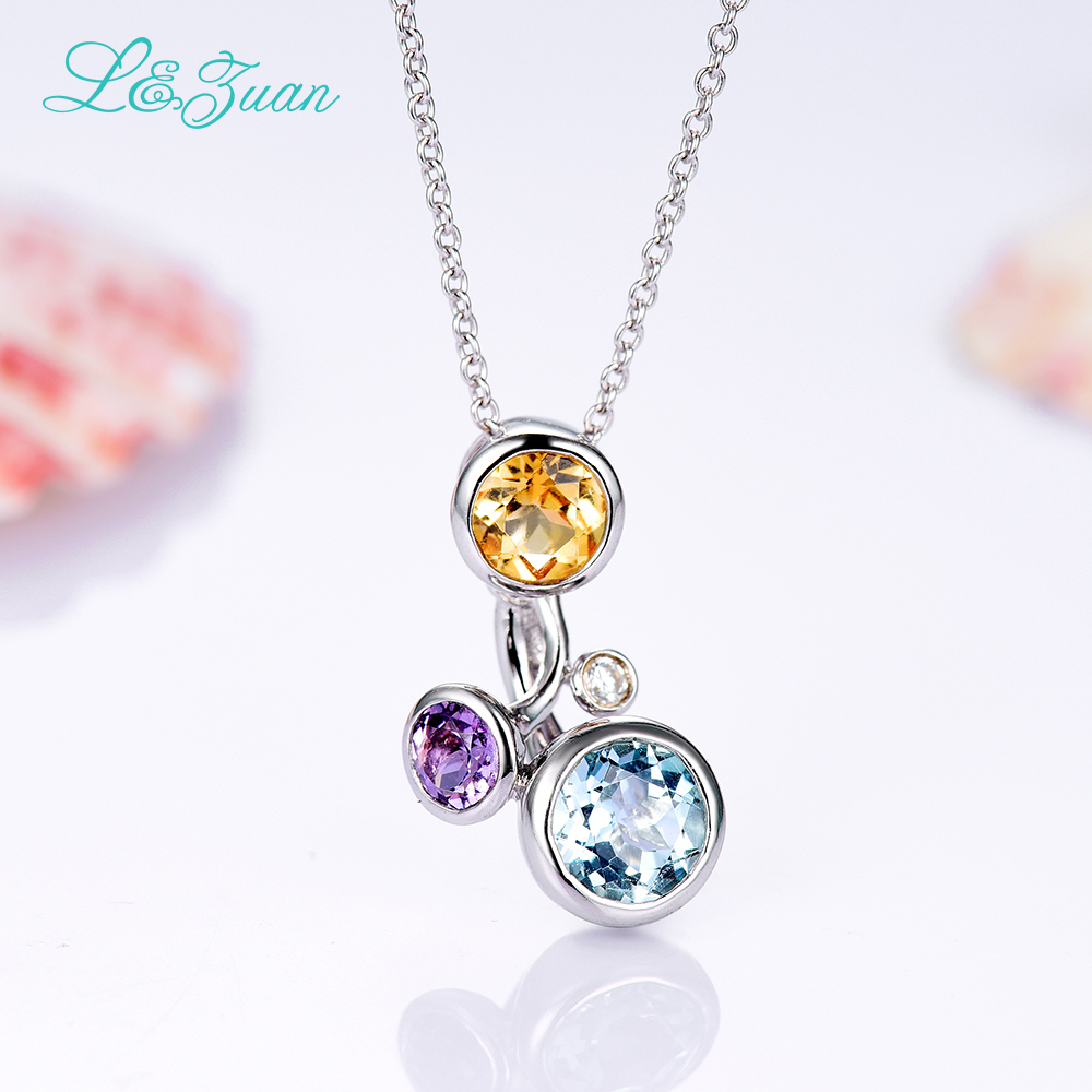 l&zuan 925 Sterling Silver Natural 0.832ct Topaz Blue Stone Necklace & Pendant For Woman Gift With Silver Chain