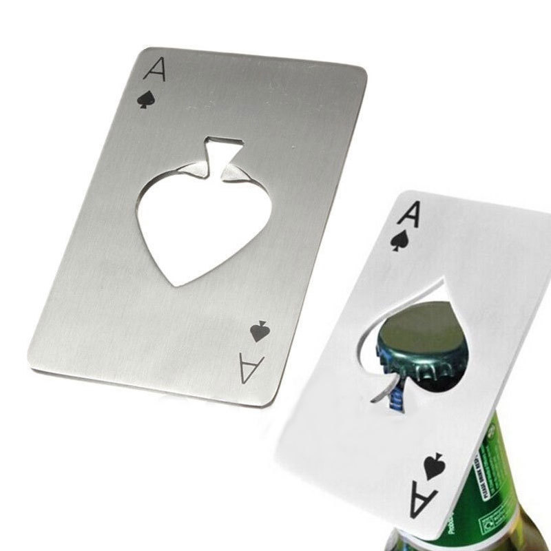 Practical Unique Playing Card Ace of Spades Poker Bar Tool Bottle Soda Beer Cap Opener #76742(China (Mainland))
