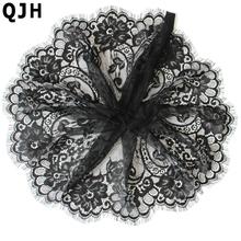 3m/lot Black Eyelash Lace Fabric DIY Decorative High Quality Soft Nylon Eyelash Lace Trim Clothing Sewing Applique Fabric 19cm(China (Mainland))