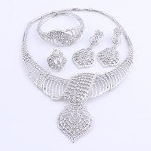 נשים חתונה תכשיטים עבור כלות זהב צבע תלבושות שרשרת עגילי סט אופנה הודי אפריקאי חרוזים תכשיטי סט(China)