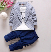 2016 Baby Boys Autumn Casual Clothing Set Baby Kids Button Letter Bow Clothing Sets Babe jacket + pant 2-Piece Suit Set(China (Mainland))