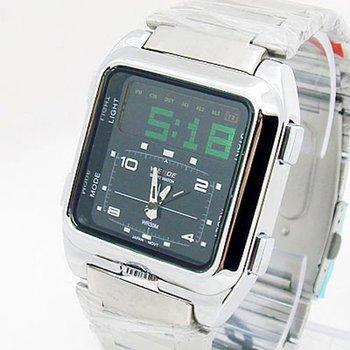 Men LCD Sport Dive Watch Square Steel Band Multifunction Dear Design iw236