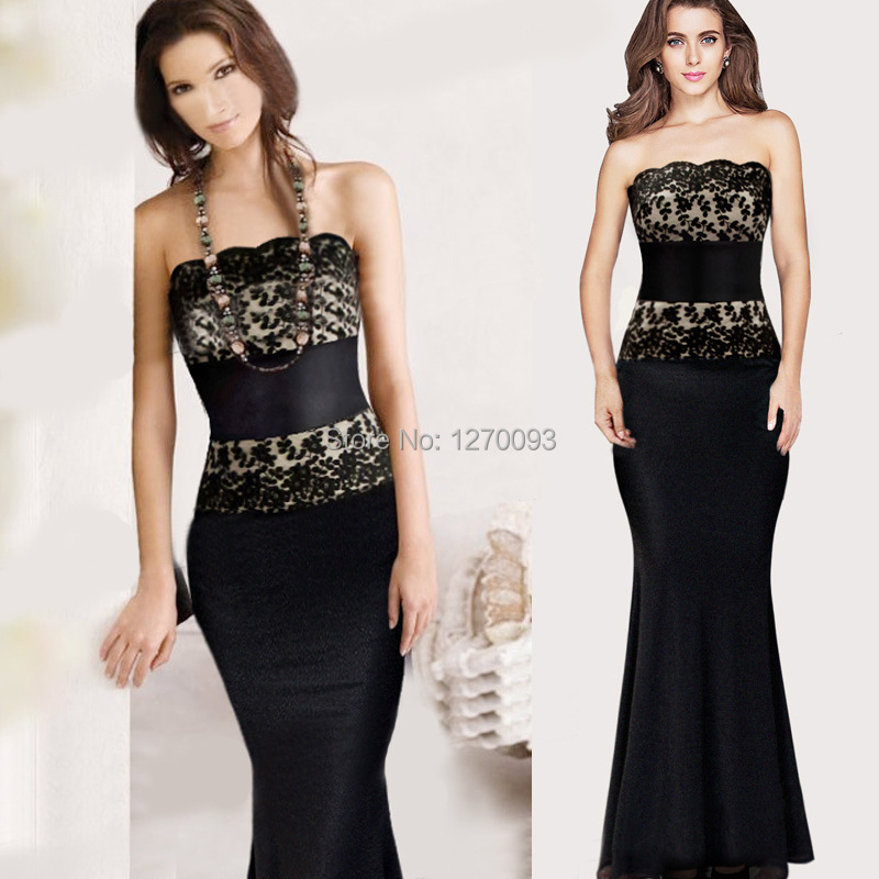 2015 New Summer Women Black Lace Long Dress Party Evening ...