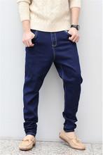 2015 Low Drop crotch pants men denim Jeans Harem hip hop pants men baggy pants loose  Stretch trousers Size 2XL,3XL,4XL,5XL,6XL