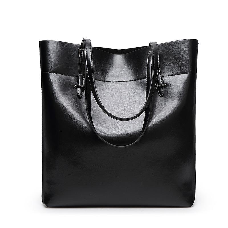 Women Big Bag Shoulder Genuine Leather Crossbody Simple Black Brand Cowhide Genuine Bucket Professional Totes Bolso Piel Genuina(China (Mainland))