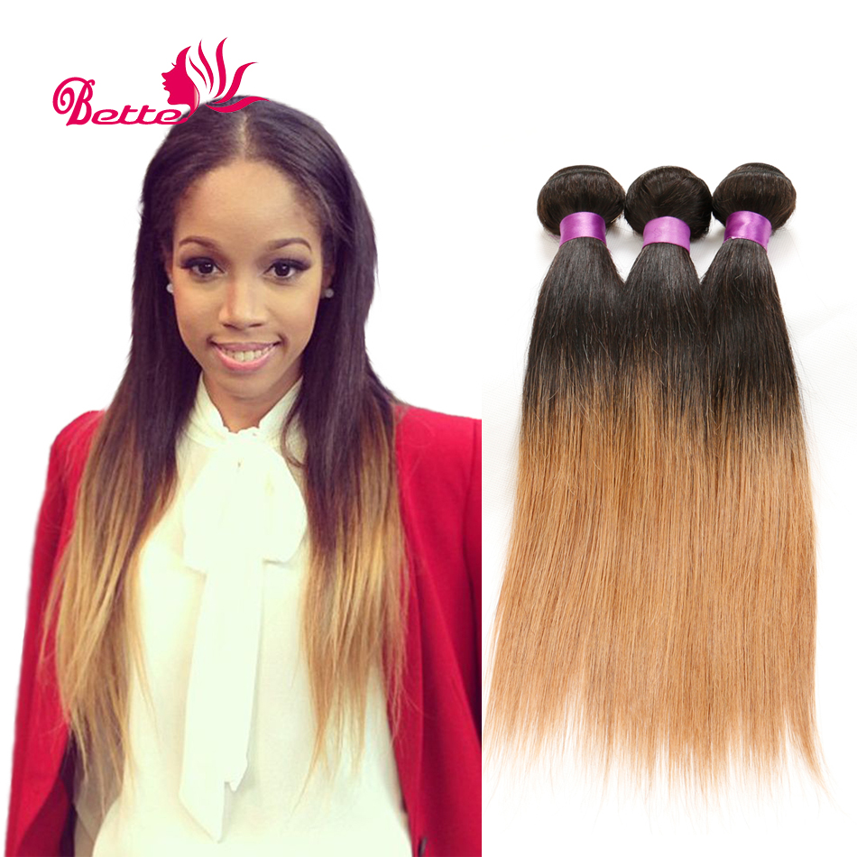 Brazilian Ombre Hair Extensions 3 Bundles Ombre Brazilian Virgin Hair Straight Two Tone Ombre Human Hair Weave T1b/27# Queens