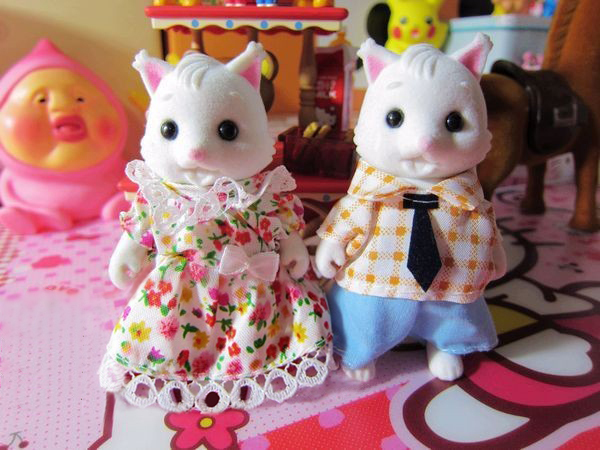 Baby Toys 1/12 Sweet White Rabbit Bunny Bridegroom Dolls For Sylvanian Families Minecraft Anime Wedding Play Home House For Kids(China (Mainland))
