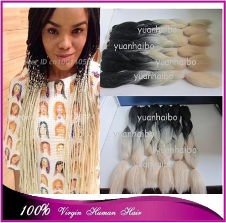 Stock! Cheap price 20 black/blonde two tone synthetic hair kanekalon jumbo braid free shipping<br><br>Aliexpress