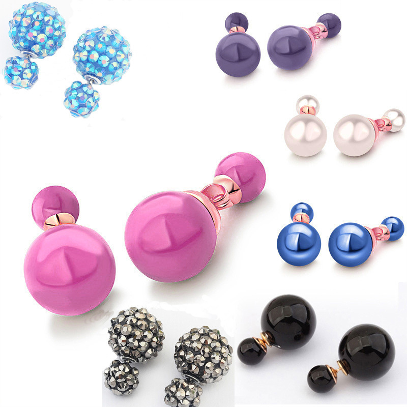 Hottest Sale 18 Colors Korea Design Big Double Pearl Earrings Women Fashion CC Jewelry Stud Crystal - Yiwu Boutique Store store