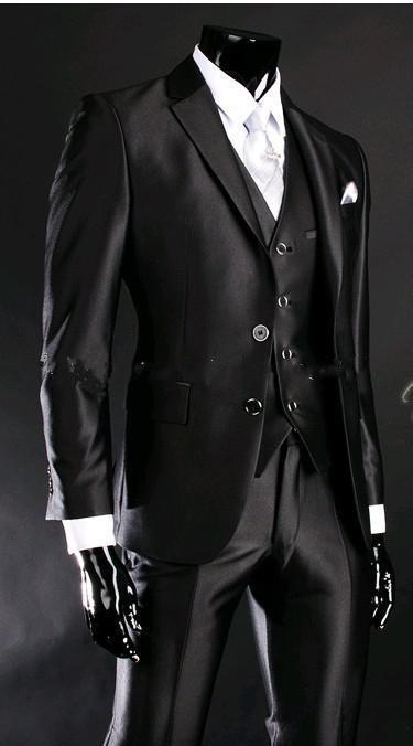 Two Button Shiny Slim Fit Groom Tuxedos Black Best man Notch Lapel Groomsman Men Wedding Suits Bridegroom(Jacket+Pants+Tie+Vest)