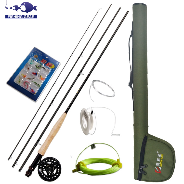 HOT Trout Fly Fishing Combo 4 SEC 2.74m Fly Rod + 5/6 Fly Reel + 12pcs Fishing Flies Lure + Leader Line Tippet Fishing Gear Set(China (Mainland))