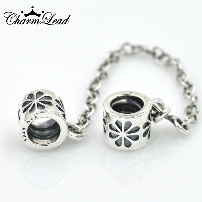 HOT! Fits Pandora Charms Bracelet 925 Sterling Silver Bead Flower Safety Chain Charm Beads DIY Bracelets for Women Jewelry(China (Mainland))