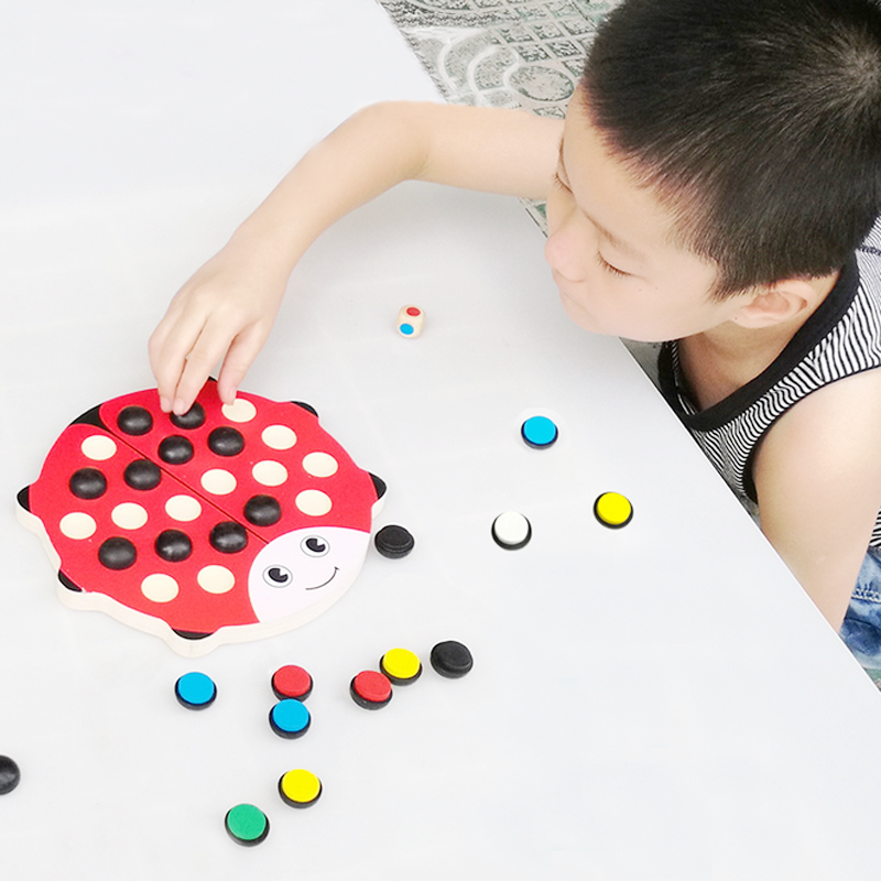 1Set Hot Kids Cute Wooden Ladybird Memory Chess Learning Educational Beetle Toys Training Parent-child Interaction Friends Games(China (Mainland))