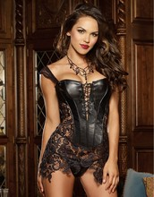 2 Colors Plus Size 5XL Steampunk Shaper Overbust Lace up Sexy Women corset Waist Trainer Bustier Sexy Lingerie With Thong W5504