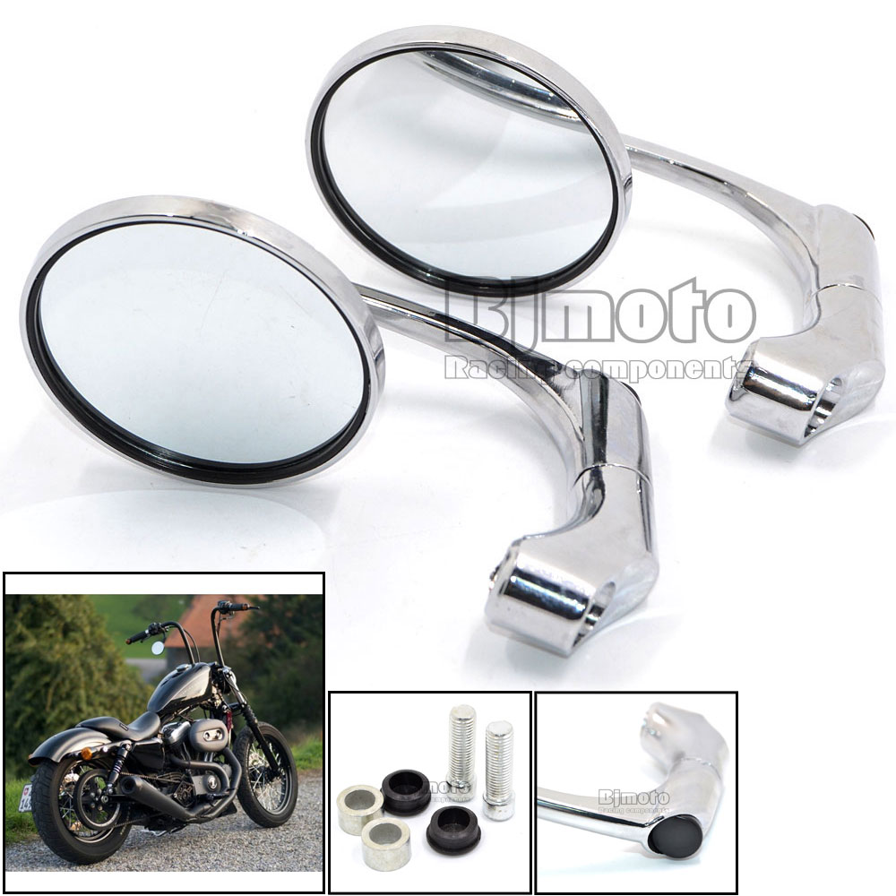 Universal Motorcycle CNC Aluminum Chrome Rear Side Round Mirror Handle Bar End Mirrors with M10 adapter For Street Bike(China (Mainland))