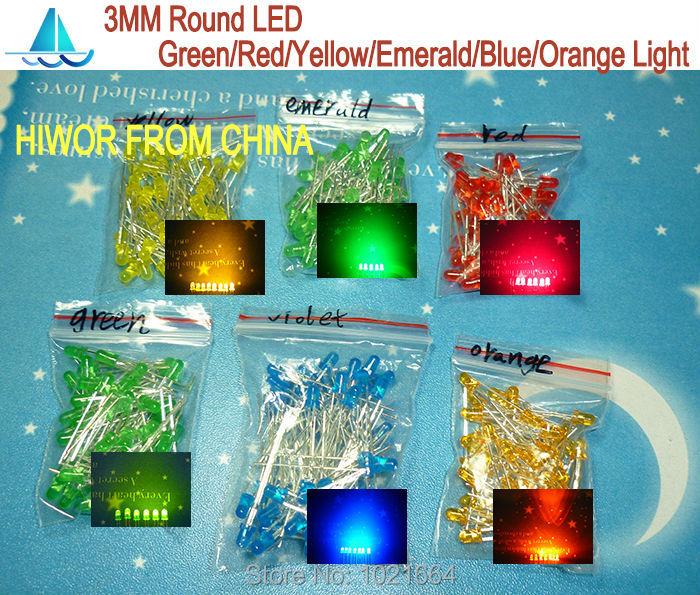 (300pcs/lot) 3MM Round LED Assortment Kit, Ultra Bright, Green/Emerald/Yellow/Blue/White/Red Light Emitting Diode(China (Mainland))