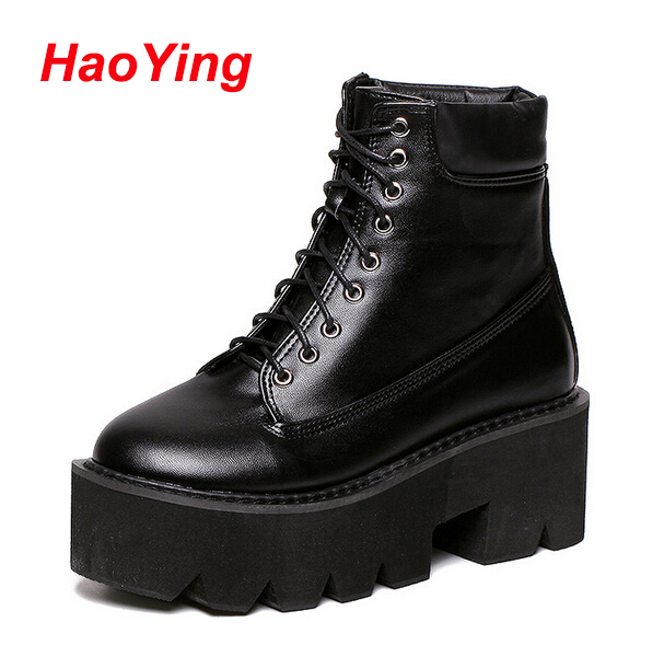 punk boots for women black white boots high heels motorcycle winter boots women lace up thick heel ankle boots platform D317