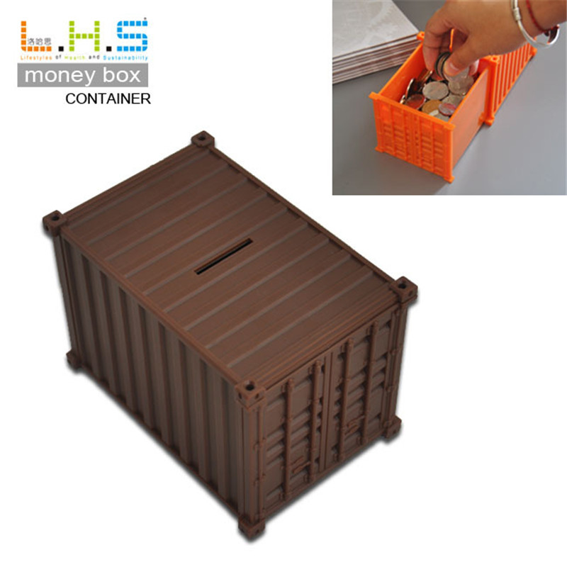 Bank of container saving box piggy banks novelty shipping for How to make a piggy bank you can t open