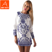 Artsun Summer Dress 2015 Hot Sale Print O-Neck Casual Women Dress Summer Style Above Knee Mini Dresses Plus Size S-XL A2309(China (Mainland))