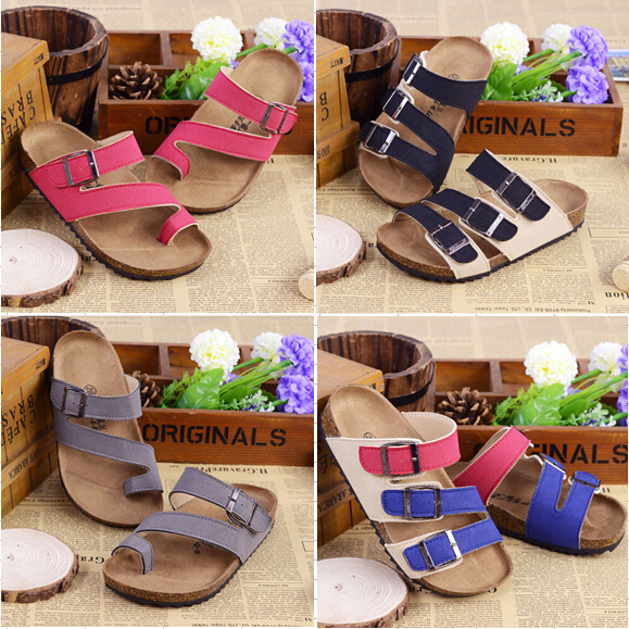 2015 summer children beach sandals boys and girls shoes birkenstock cork sandals mixed color paternity cork shoes kids Slippers(China (Mainland))