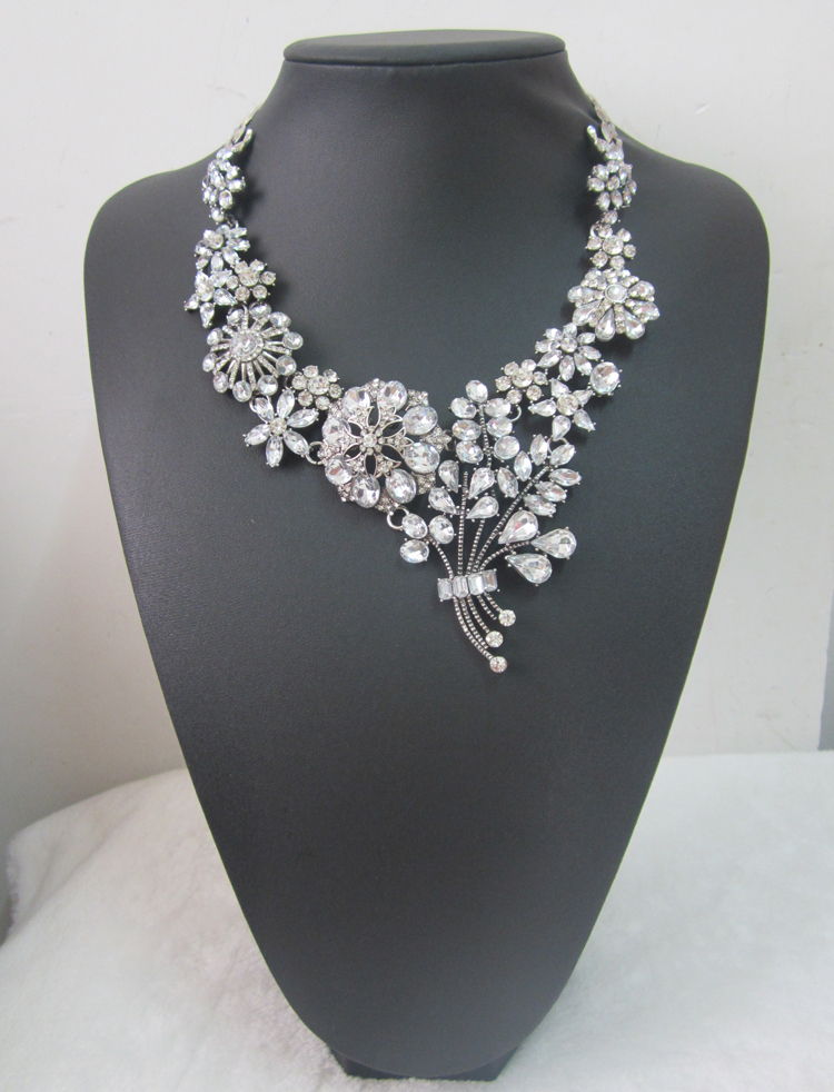 New brand za crystal pendants necklace flower statement necklace&pendants women vintage collars chokers wedding necklace jewelry(China (Mainland))