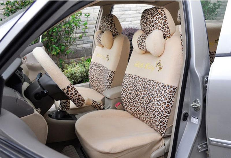 Women Lovely Leopard Car Seat Covers 18pcs Fashion Autumn