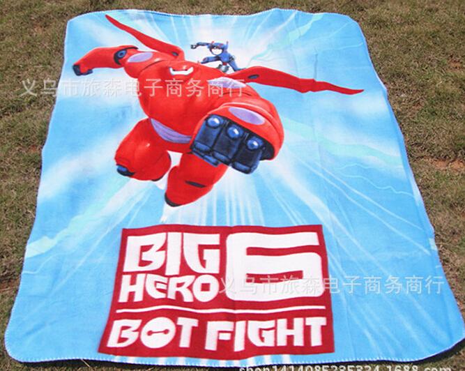 2015 New Cartoon Big hero 6 Baymax baby boys children Two side Fleece blankets kids home beach blanket 5pcs/lot(China (Mainland))