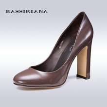 BASSIRIANA pumps 2016 high heels shoes woman Genuine leather Big size 35-40 Round toe Balck and Brown colors Free shipping(China (Mainland))