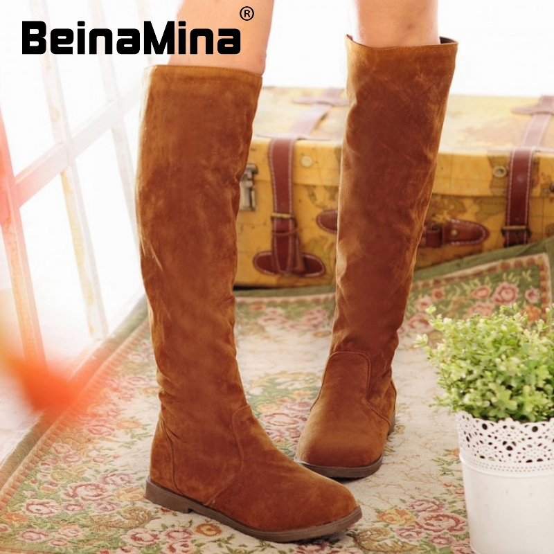 women flat over knee boots equestrian winter warm snow botas round toe fashion masculina boot footwear shoes P20093 size 34-39<br><br>Aliexpress
