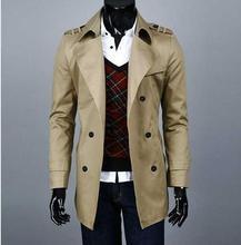Весна осень середина длинное пальто подростков мужская плащ корейский случайные ветровка двубортные пальто 6XL 7XL 8XL 9XL(China (Mainland))