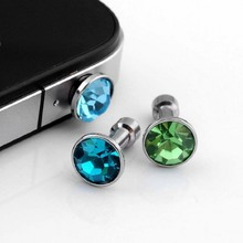 Crystal Earphone Jack Accessory Cellphone Charms Anti-dust Dustproof Jack Plug Stopper for Iphone xiaomi redmi note 3 pro Phone(China (Mainland))