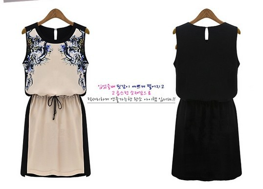 2014 Printed Dress Summer Women's clothing Pinched Waist Chiffon dress Casual Women Sleeveless - Online Store 416591 store