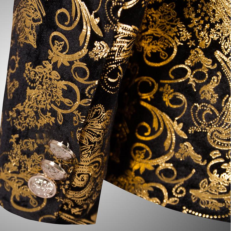 Золото костюмы мужские роскошь принт пиджак свободного покроя цветочный jaqueta де luxo пиджак куртки для мужчины