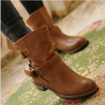 2013 women's winter shoes fashion knee-high boots martin boots motorcycle boots fashion flat boots