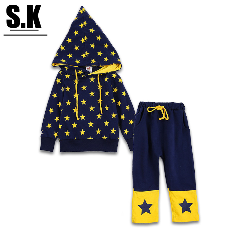 Brand Sunshine Kid Children Clothing Sets with Hooded Korea Style Star pattern Boys&Girls Clothing Sets Kids Clothes for Boys(China (Mainland))