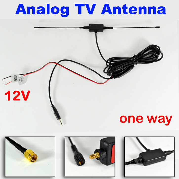 Apollo one Way Car Analog / aerial antenna with 12V amplifier for car dvd / TV good quality hongkong post Free shipping(China (Mainland))