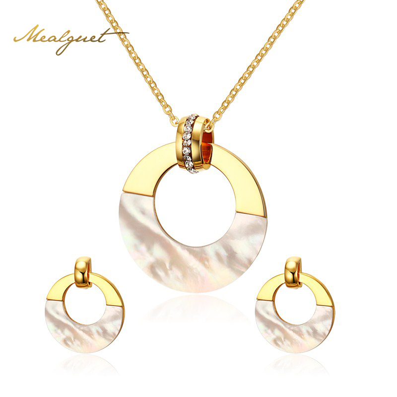 Meaeguet Luxury Women Jewelry Sets Stainless Steel Round Shell Gold Plated CZ Pendant Necklaces Earrings Fashion Jewelry Sets(China (Mainland))