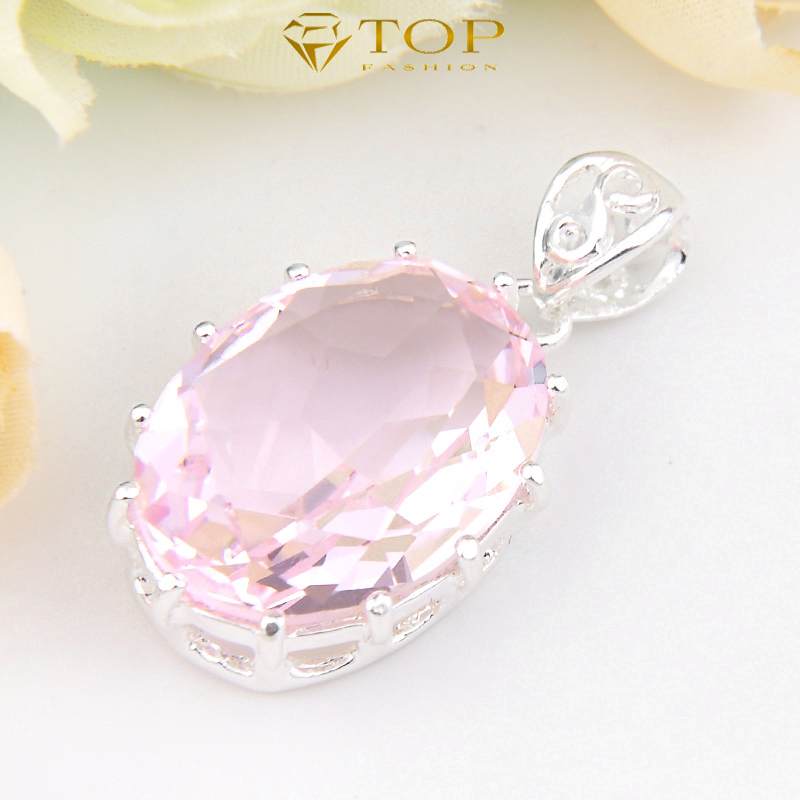 Free Shipping - Holiday Gift Hot Sell Jewelry Pendant Sweet Pink Topaz Pendant For Women Wedding Party Bijoux P0093(China (Mainland))