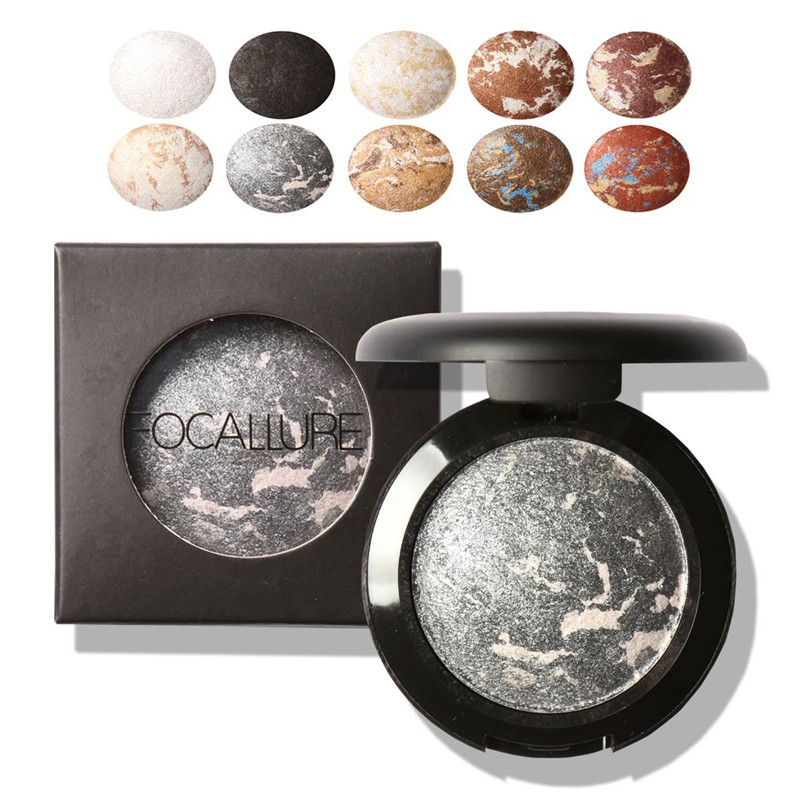 10 Colors Baked Eyeshadow Eye shadow Palette in Shimmer Metallic Eyes Makeup by Focallure(China (Mainland))