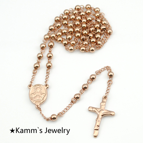 Rose Gold Rosary Beads stainless steel Chain pendant necklace gothic designer jewerly women 2014 accessories Wholesale KRN39(China (Mainland))