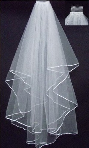 In Stock White And Ivory Ribbon Edge Two Layer Tulle Wedding Bridal Veil Wedding Accessories