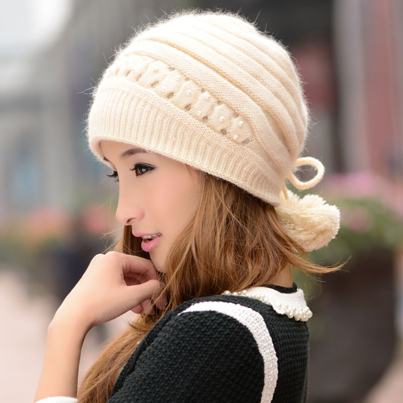 2016 New Arrive 6 Colors Winter Hat Women's Rabbit Fur Knitted Hat Winter Knitted Beret Painter Cap Free Shipping(China (Mainland))