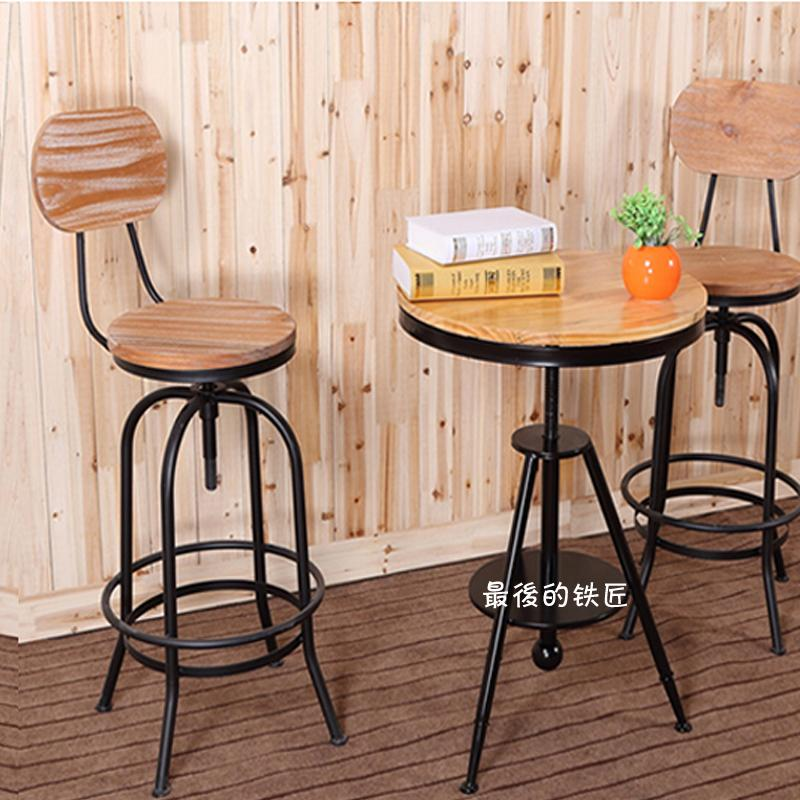 European Retro Bar Stool Chair Leisure Tea Shop Opened Cafe Chairs Rotating Movements In Bar
