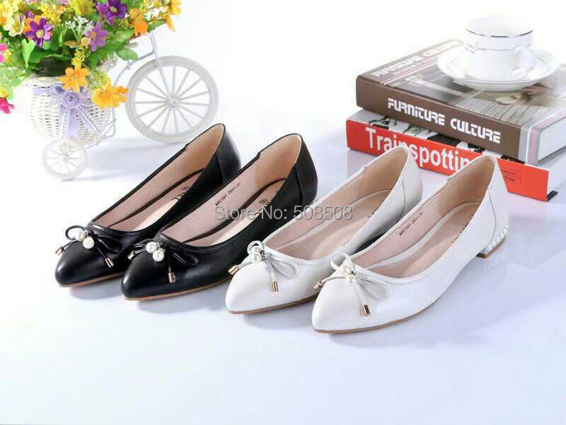 brand classic black white genuine leather flat shoes for women shoes espadrilles sapatos zapatos mujer slip on bowtie flats<br><br>Aliexpress