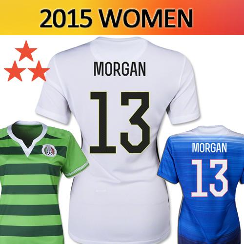 3 stars 2015 Mexico USA Soccer Jersey Women MORGAN Lady world cup LEROUX Girl three stars SOLO Female football Shirt Away Home(China (Mainland))