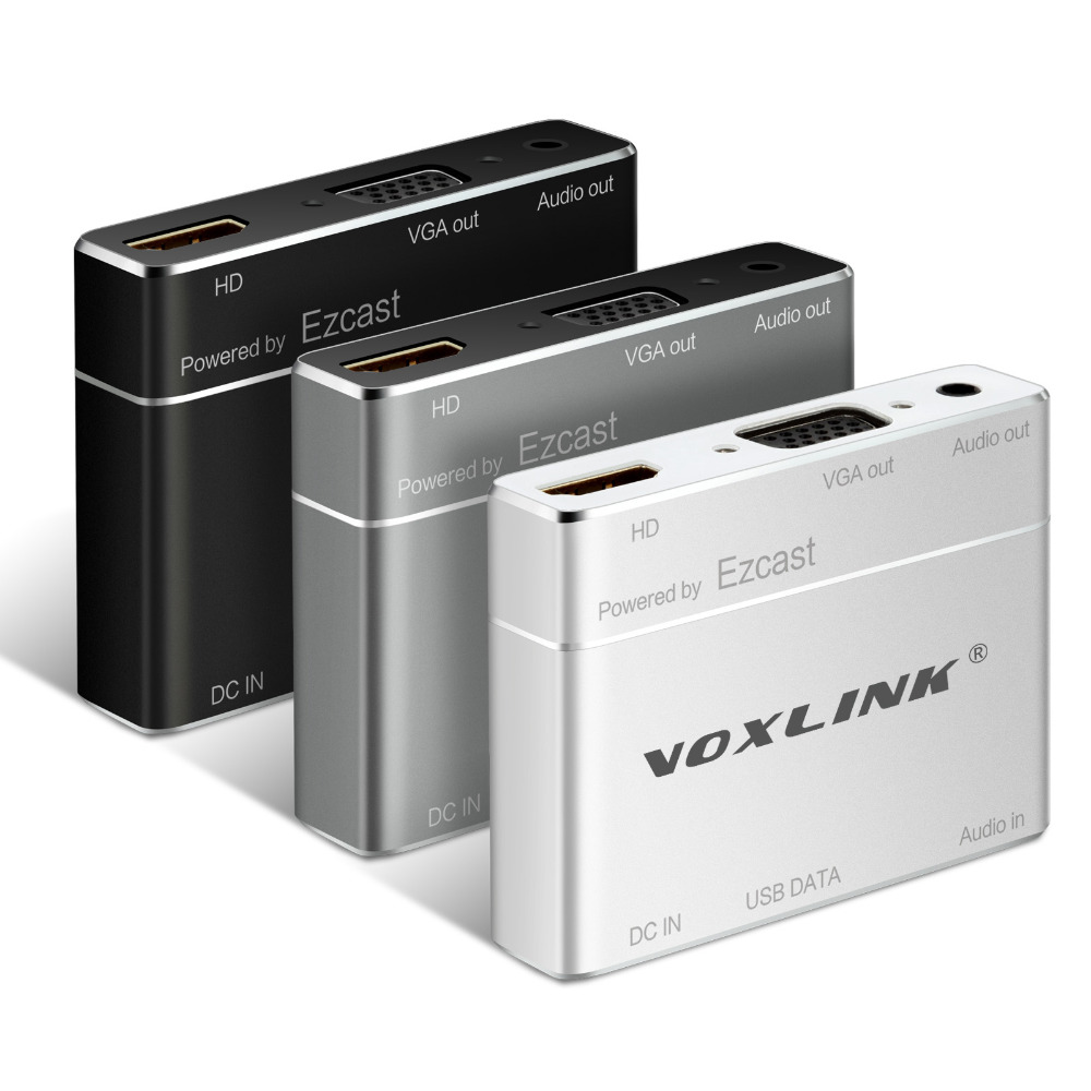 VOXLINK Digital AV adapter Power by EZcast USB To HDMI VGA Audio Converter For iPhone 7 6S iPad iPod Androird iOS PC