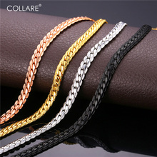 Buy Collare Trendy Men Snake Chain Black Gun/Rose Gold/Gold/Silver Color Necklace Men Link Chain Jewelry Party Gift N513 for $4.78 in AliExpress store