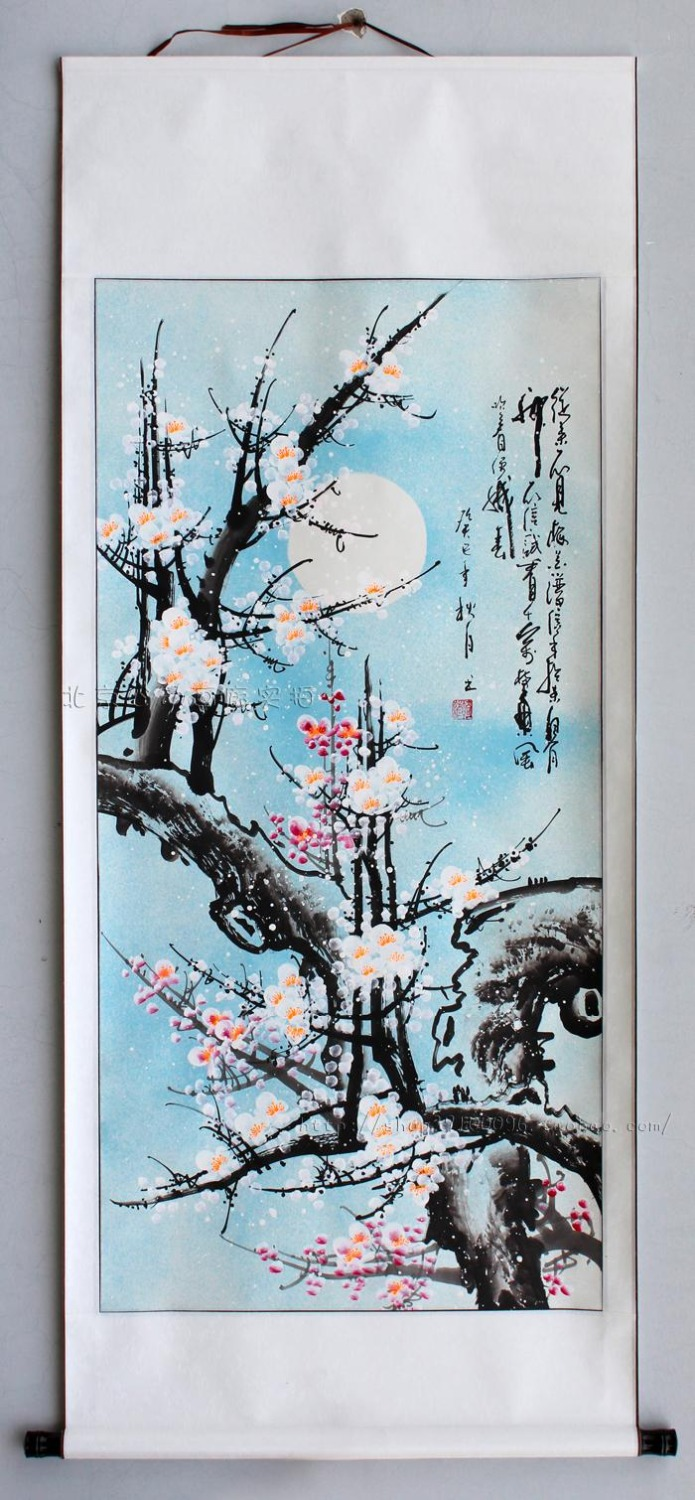 Home bedroom Hand-painted rice paper traditional Chinese watercolor flower ink painting murals Clean White Plum blossom(China (Mainland))