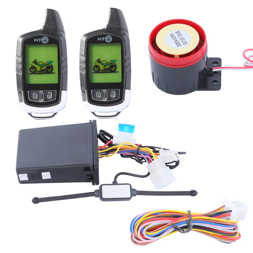quality LCD display two way motorcycle alarm system with remote engine start long remote distance(China (Mainland))